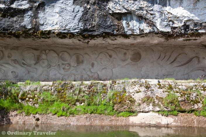 Towpath carvings Saint Cirq Lapopie France