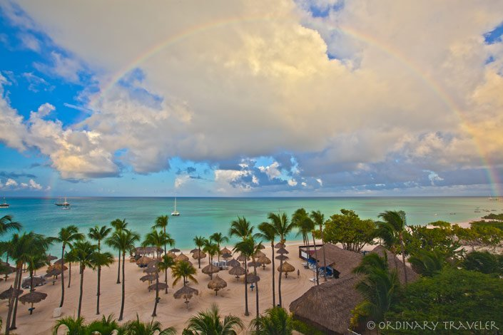 Aruba Marriott Resort Beach View with Rainbow