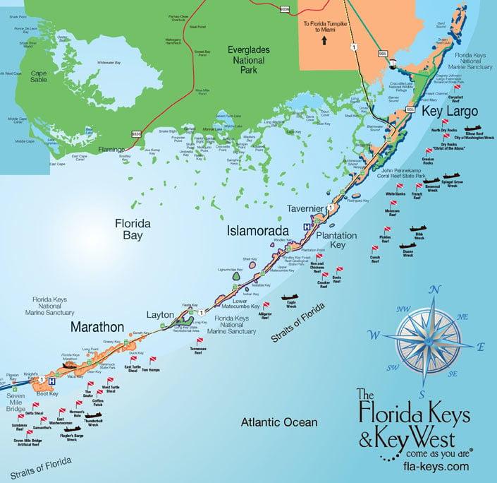Middle & Upper Florida Keys Map