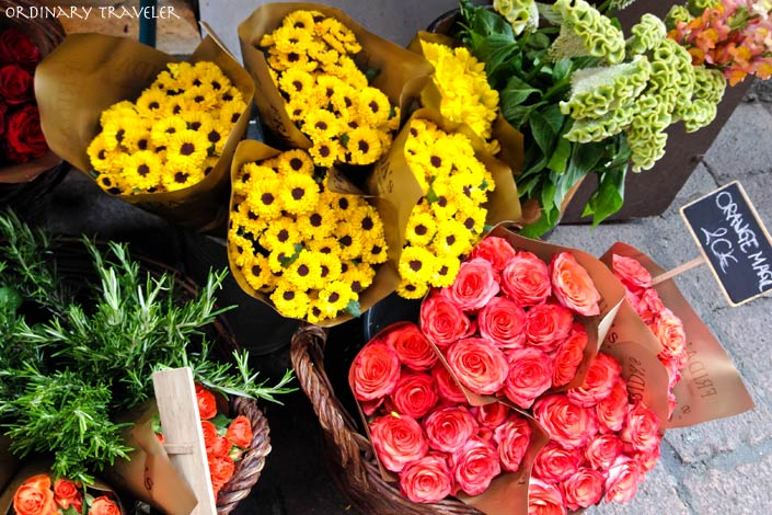 Flowers at a street market in Bologna