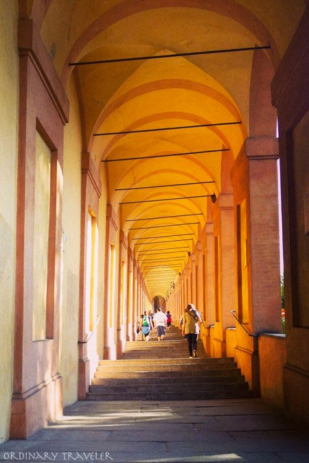 The longest arcade in the world in Bologna, Italy