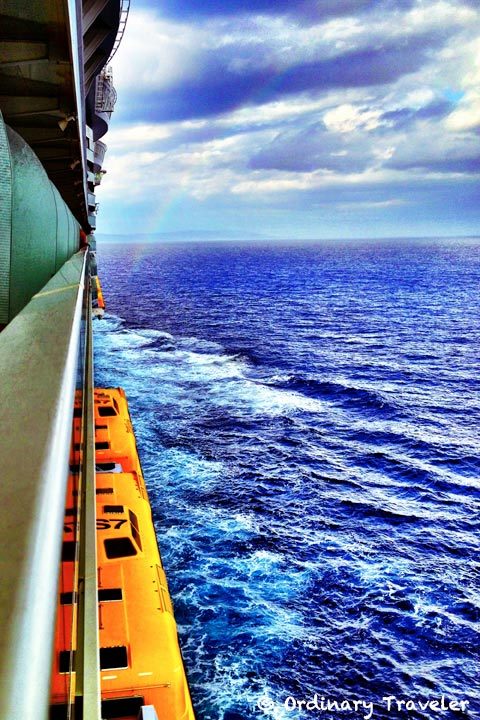 caribbean cruise balcony view rainbow