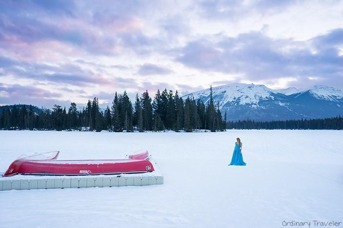 The Beauty of Traveling Solo - Frozen Lake in Jasper, Canada