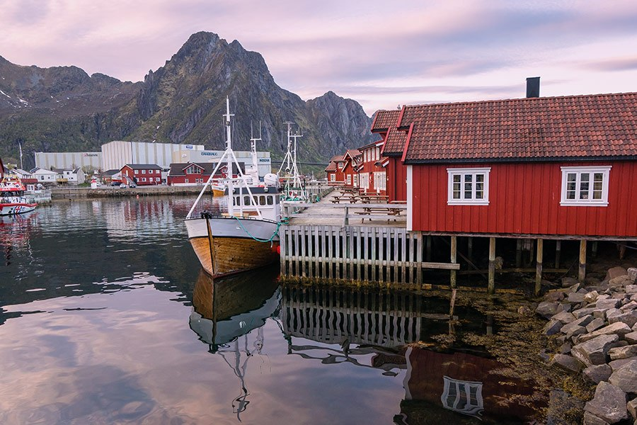Svolvaer Harbor in Lofoten Islands, Norway
