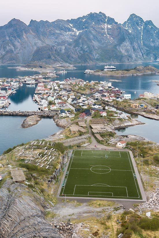 Henningsvaer Soccer Field in Norway's Lofoten Islands