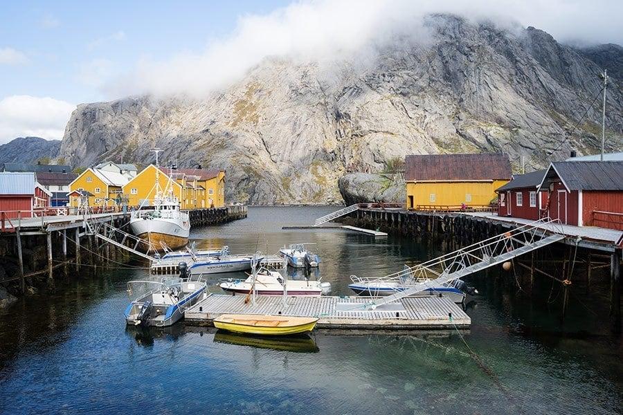 Nusfjord Harbor in Lofoten Islands, Norway