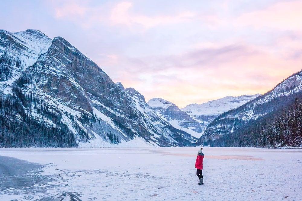 Frozen Lake Louise in Winter - Banff, Canada